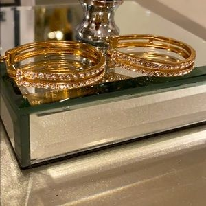 14k Honey Gold crystal hoops with pave